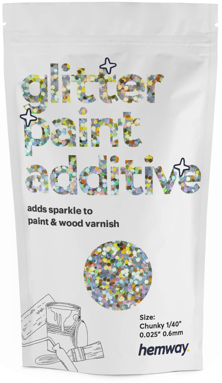 """Hemway Glitter Paint Additive Chunky 1/40"""" 0.6mm Emulsion/Acrylic Water Based Paints Wall Ceiling 100g / 3.5oz (Gold Silver Holographic)"""