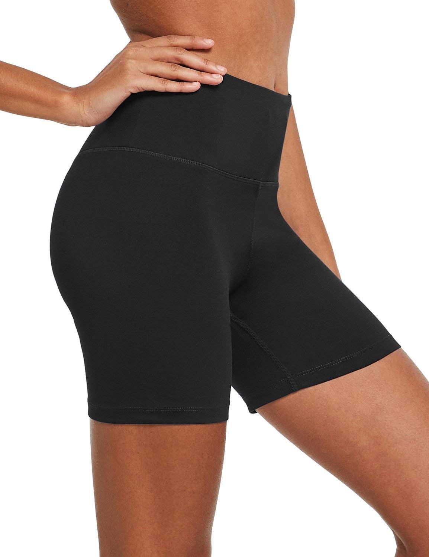 "BALEAF Women's 5"" High Waist Volleyball Yoga Shorts Tummy Control Inner Pocket for 5.5"" Mobile Phone"