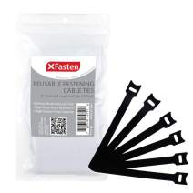 X Fasten Reusable Cable Management Ties - 6 Inches Hook and Loop Fastening Zip Cord Ties Straps (50-Pack), Adjustable Hook and Loop Fastener Cable Strap, Black