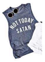 Women Not Today Satan Tank Funny Graphic Casual Sleeveless Tshirt Vest