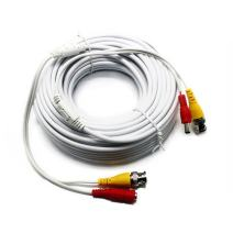 Five Star Cable RG59 Siamese Combo Cable Patch RG59 Video + 18/2 Power for TVI, CVI, AHD and HD-SDI CCTV Camera System with BNC connectors and 2.1mm Power Jack (25 Ft, White)
