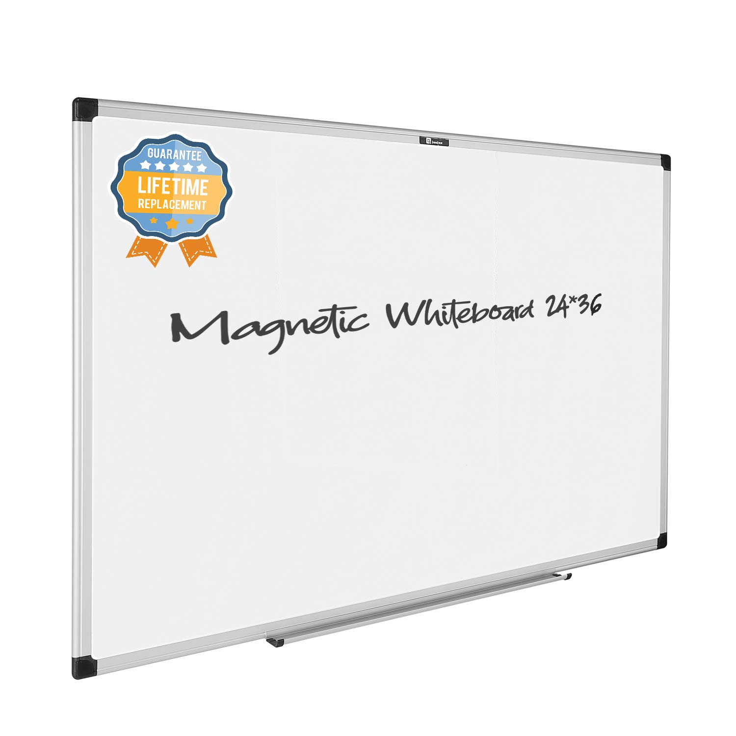 juujee 24x36 Dry Erase Magnetic White Board with Pen Tray, Classic Aluminum Frame, Wall-Mounted Lightweight Whiteboard for Office, Home, School, Include 2 Dry Erase Markers, 4 Magnets, 1 Eraser…