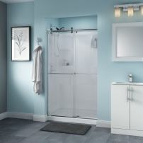 Delta Shower Doors SD3276545 Windemere Semi-Frameless Contemporary Sliding Shower Door 48in.x71in Handle, Chrome Track