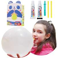 BILIPO Blow Large Plastic Bubble Balloon and Panda Model, 2 Large Size Special Straws and Tubes, Blow The Biggest Plastic Bubbles (White and Black)