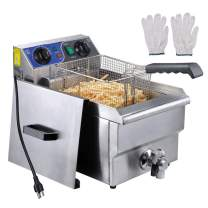 WeChef 11.7L Commercial Electric Deep Fryer Countertop Restaurant Fryer Stainless Steel Timer and Drain