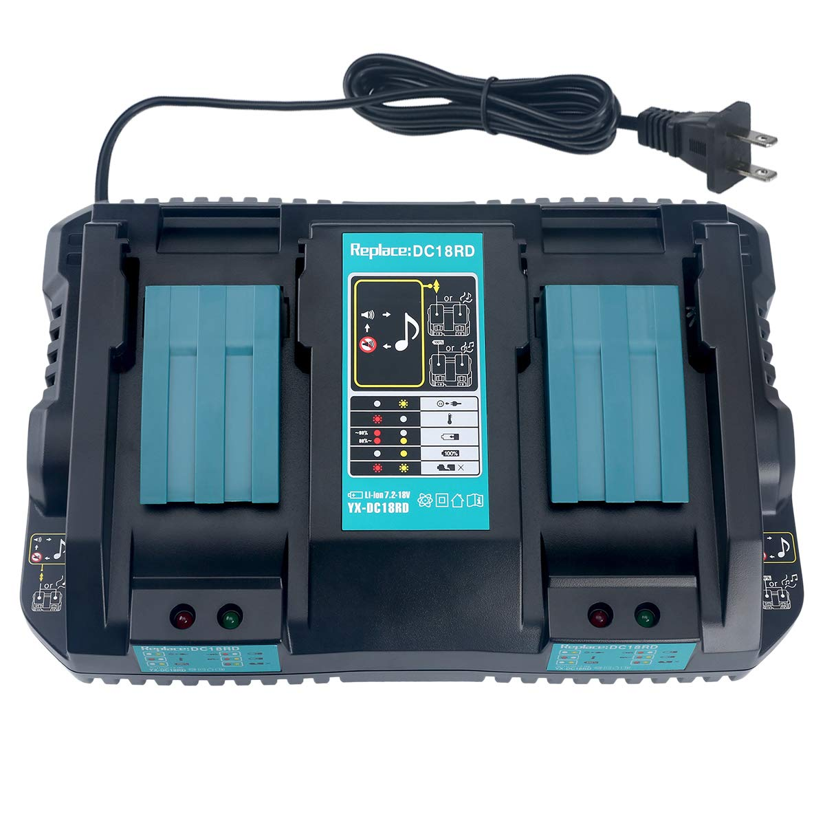 Lasica Cordless Tool Battery Charger Replacement Makita 18V Battery Charger DC18RD for Makita 18V Battery LXT BL1830 BL1840 BL1860 BL1815 BL1430 BL1450 BL1440 BL1850 Makita 14.4V 18V LXT Charger