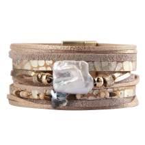 Leather Cuff Bracelets Bohemian Wrap Bracelet Wristbands Handmade Jewelry for Women,Teens Girls, Mother, Sister, Daughter