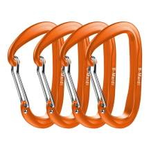 B-Mardi Carabiner,4 Pack Carabiner Clips,12KN Wiregate Heavy Duty Carabiner for Hammocks, Camping,Hiking, Swing, Key Chains,Locking Dog Leash and Harness, Outdoor,Hiking & Utility