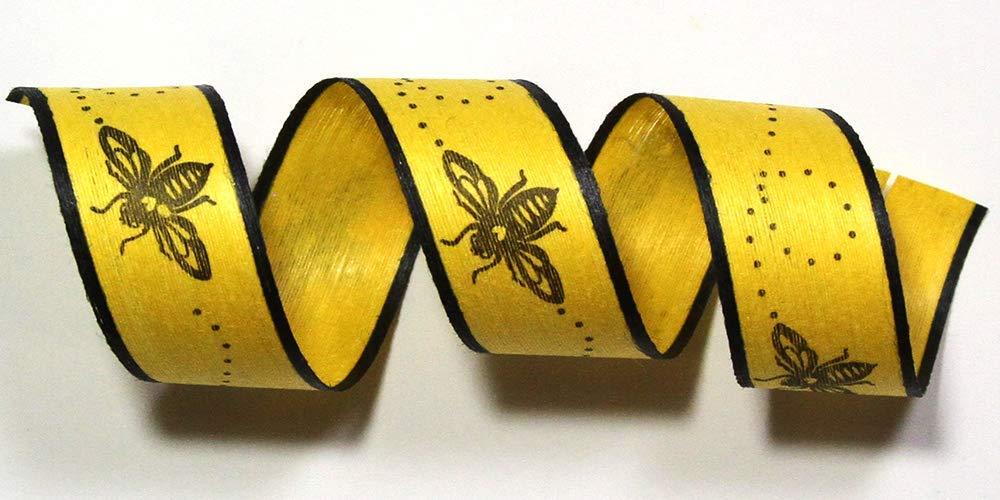 """100% Biodegradable Natural Ribbon   Prints & Stripes   Ribbon for Crafts   Cotton Curling Ribbon   Holiday Ribbon   Wrapping Ribbon   Eco-Friendly Ribbon (Bees Knees, 1/2"""" x 100 Yards)"""