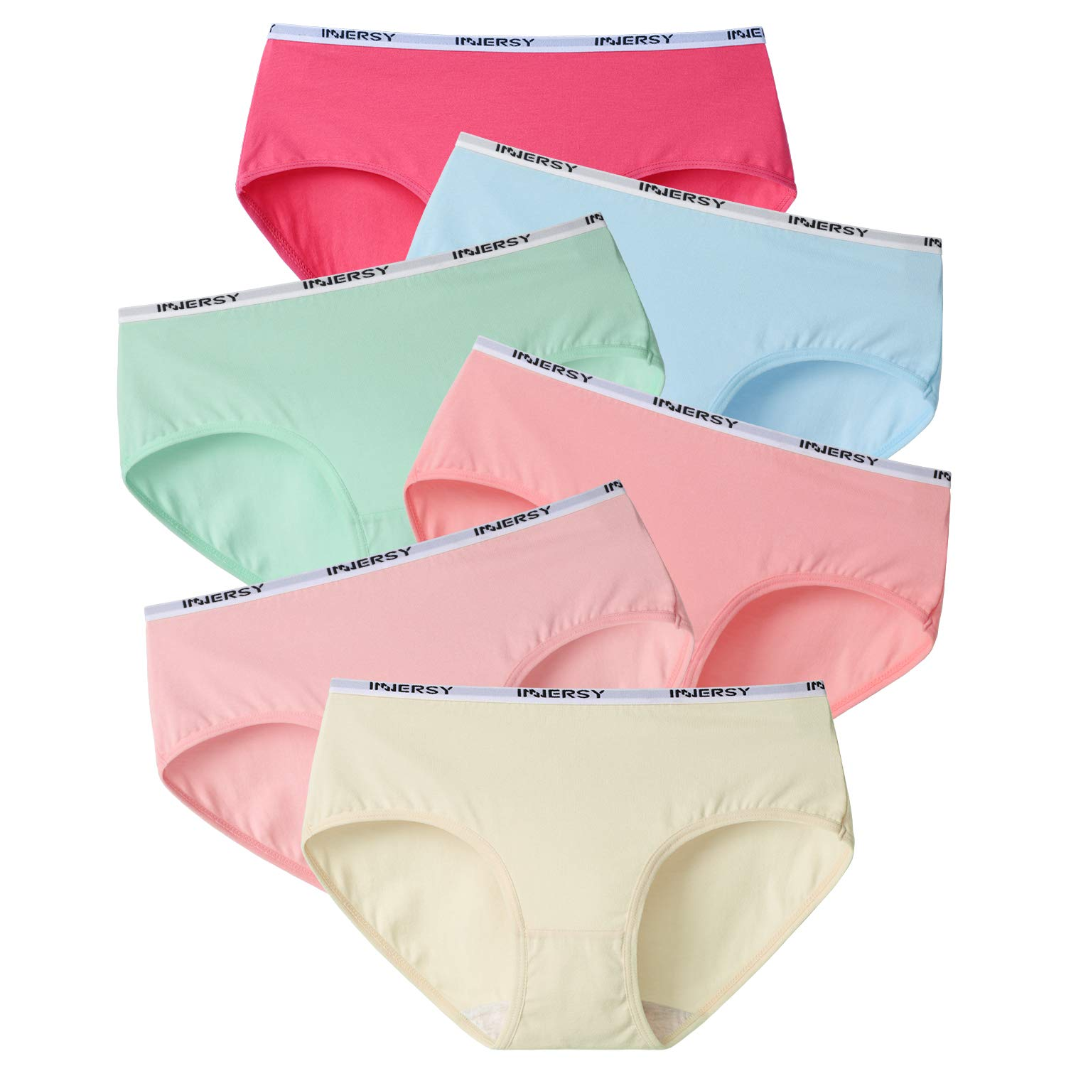 INNERSY Women's Briefs Panties Low Rise Cotton Hipster Underwear Pack of 6
