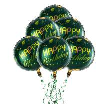 """18"""" Happy Birthday Foil Balloons- Round Mylar Helium Balloons- Party Decorations Supplies Balloons Self Seal 6Pcs/Se (Green)"""