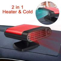 Portable Car Heater, 60 Seconds Fast Heating Quickly Cooling Fan 12V 150 W Auto Defogger Defroster Plug in Cig Lighter with 360° Rotating Base (Black Red)
