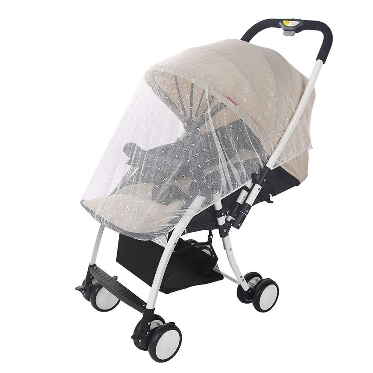 UOMNY Baby Carriage Crib Net Cover Jacquard 1 Pack White for Stroller,Bassinet,Portable and Durable Baby Netting,Infant Protection Against,Toddler Insect Shield Canopy