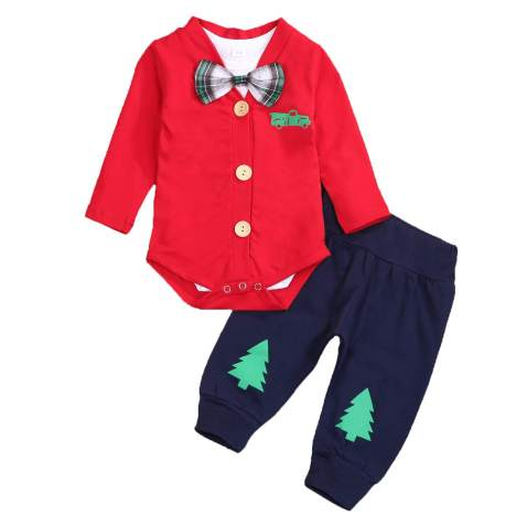 JEELLIGULAR Infant Baby Boy Valentine's Day Clothes My First Valentine's Day Romper Bodysuit Heart Pants Gentleman Outfits