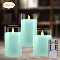 Battery Operated Candles with Timer Remote, LED Flameless Candle Gift Set, Pillar Real Wax Moving Flickering Light with Glass Effect for Home Party Wedding Valentines Decor, Set of 3 (Blue)