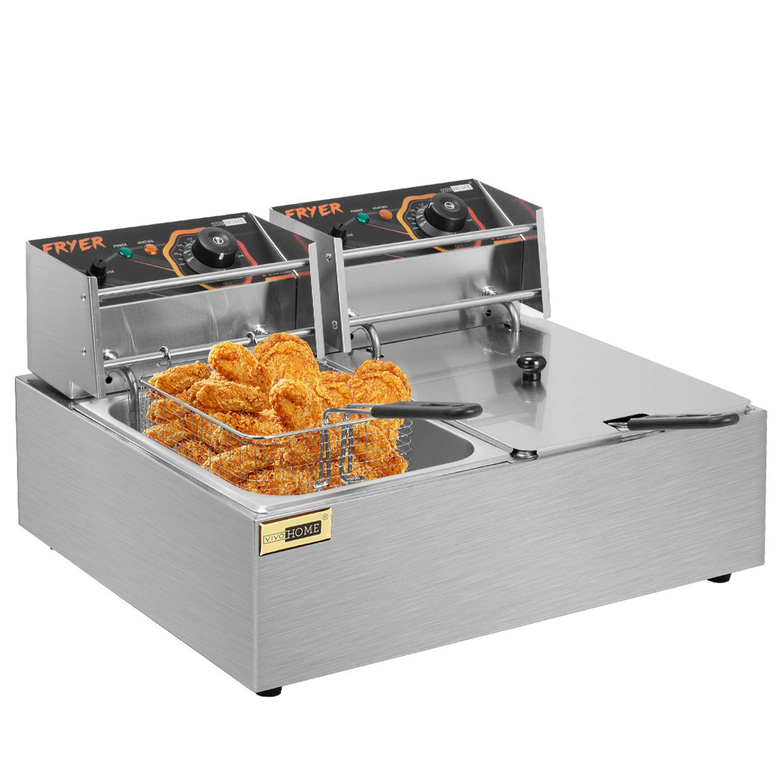 VIVOHOME Stainless Steel 20.5QT/19.5L Large Capacity Electric Commercial Dual Tank Deep Fryer Countertop with Double Baskets and Temperature Limiter