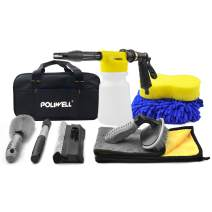 POLIWELL Car Foam Gun with Washing Kit, Cannon Blaster with Adjustable Water Pressure and Soap Ratio Dial Sprayer Attaches to Universal Garden Hose for Car Cleaning, Home and Garden Use, 8PCS Set