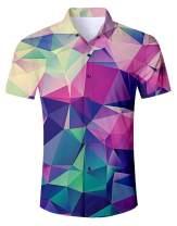 UNIFACO Men Hawaiian Button Down Shirts Short Sleeve 3D Printed Dress Shirt for Tropical Aloha Casual Holiday