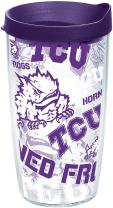 Tervis 1251949 Tcu Horned Frogs All Over Insulated Tumbler with Wrap and Royal Purple Lid, 16oz, Clear