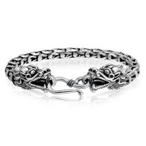 Bali Style Asian Dragon Heads Eye Hook Clasp Bracelet For Women For Men Antiqued 925 Sterling Silver