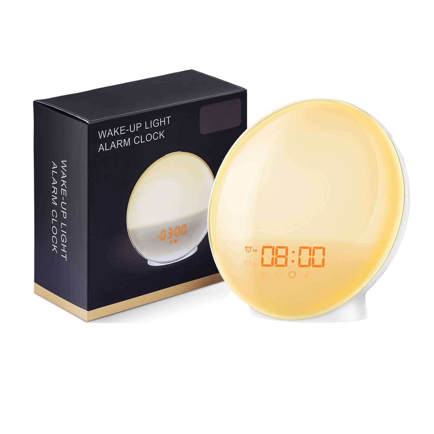(Upgraded) AMIR Sunrise Alarm Clock, Wake-Up Light, 7 Colors Mood Atmosphere Lamp, Bedside Night Light, Digital Clock, FM Radio, Sunrise/Sunset Simulation for Bedroom, 7 Natural Sounds, Dual Alarms