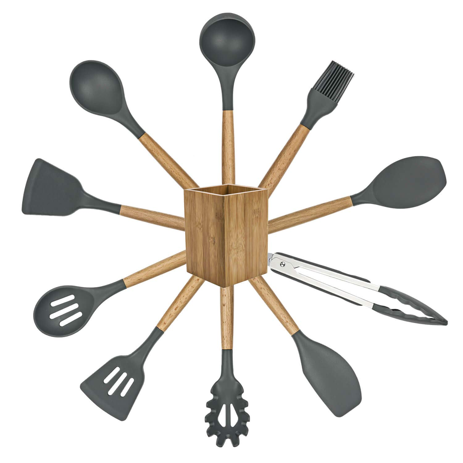 POENSCAE Kitchen Utensils,Silicone Cooking Utensils Set,11-Piece with wood Handles for Non-Stick and Heat Resistant Cookware Set BPA Free-Great Holiday Gift