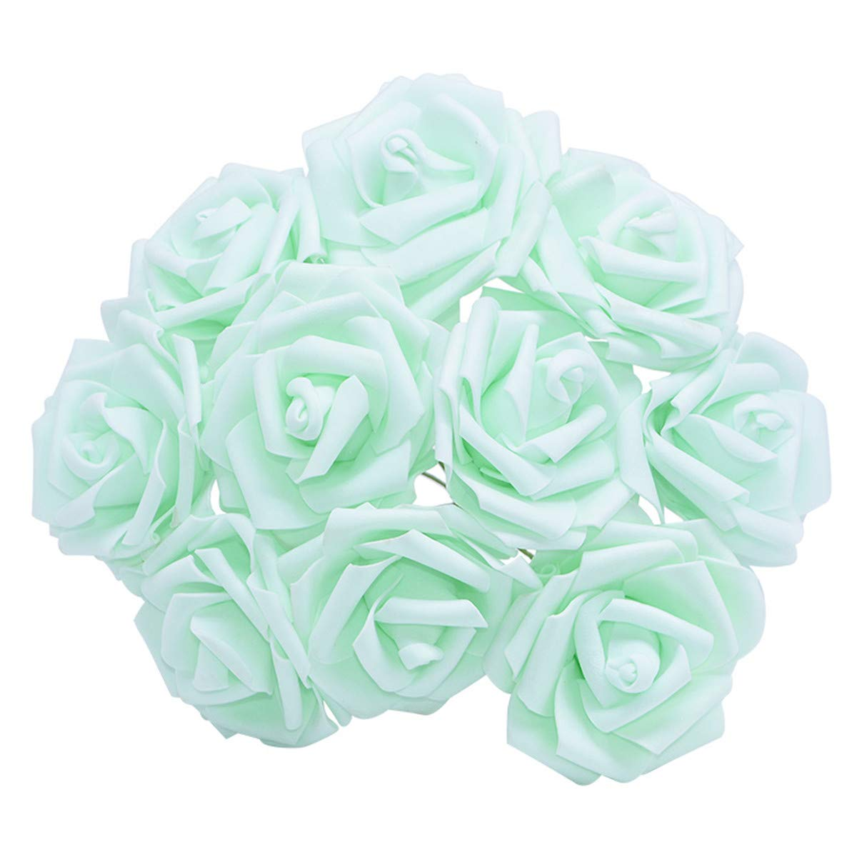YONGSNOW Artificial Rose Flower 30Pcs PE Foam Roses Bulk with Stem Real Touch 3D Rose for DIY Wedding Bouquets Centerpieces Bridal Shower Party Home Decoration (Light Green)