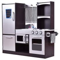 "Costzon Kids Kitchen Playset, Wooden Cookware Pretend Cooking Food Set Toddler Gift Toy (37.4"" Height, Espresso)"