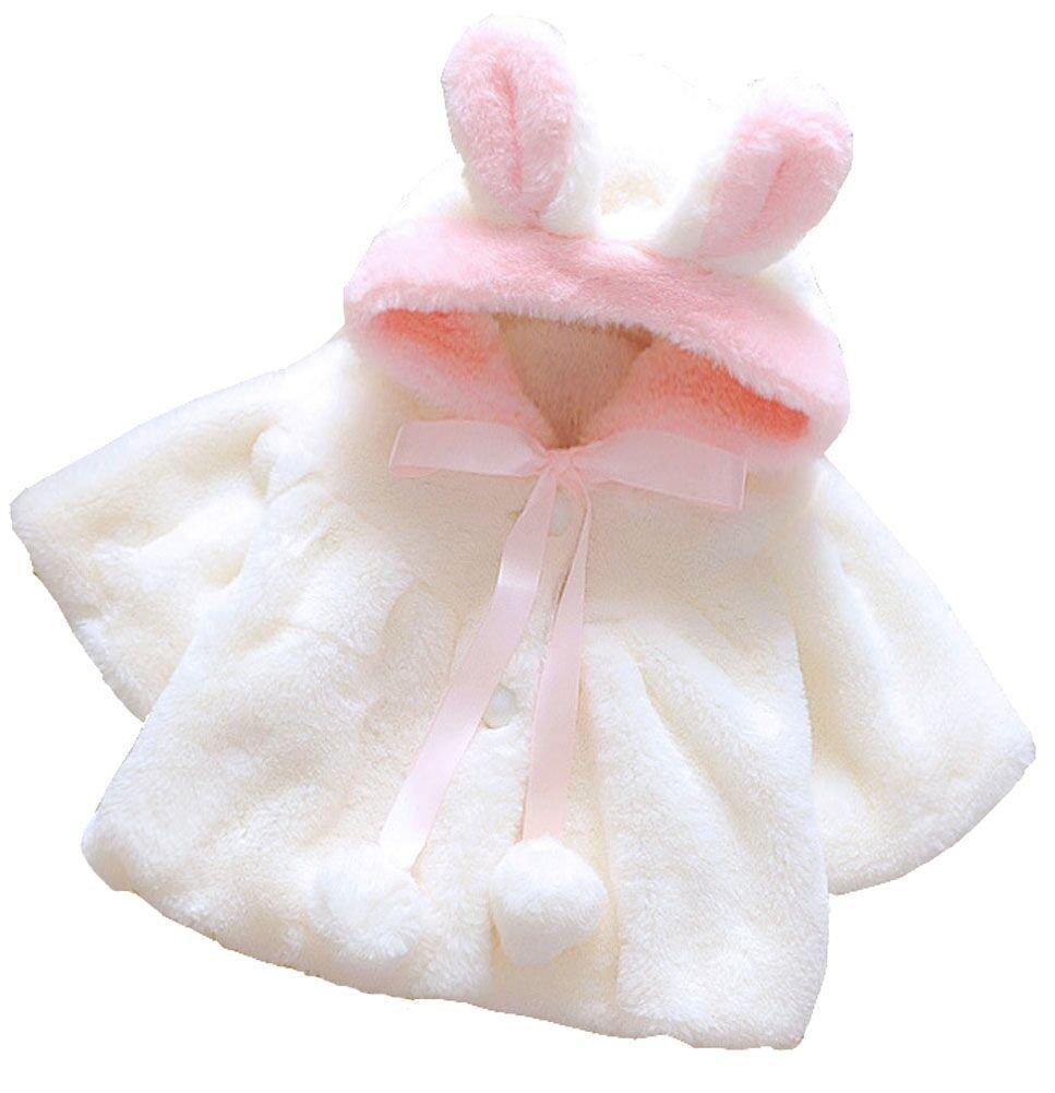 EGELEXY Baby Girl Fur Winter Warm Coat Cloak Jacket Thick Warm Clothes 18-24Months White