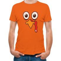 Turkey Face - Funny Thanksgiving Men's T-Shirt Medium Orange