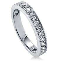 BERRICLE Rhodium Plated Sterling Silver Cubic Zirconia CZ Anniversary Wedding Half Eternity Band Ring