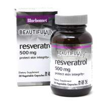 Bluebonnet Nutrition Beautiful Ally Resveratrol 500mg, Best for Skin, Antioxidant, Beauty Nutrient, Vegan, Vegetarian, Non GMO, Gluten Free, Soy Free, 30 Vegetable Capsules, 30 Servings