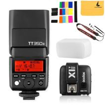 GODOX TT350S Mini Flash TTL HSS 1 / 8000s 2.4G Wireless with X1T-S Flash Trigger Transmitter 2.4G Wireless Remote Transmitter Compatible for Sony Mirrorless Camera a7R a58 a99 ILCE6000L a77II RX10