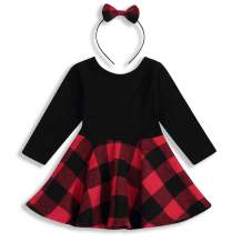 Infant Baby Girls Dress Long Sleeve Red Plaid Splice Skirt with Bowknot Headband Party Dress Outfits