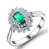 Lanmi 14K White Gold Natural Green Emerald Rings Brilliant Diamond Engagement Wedding for Women
