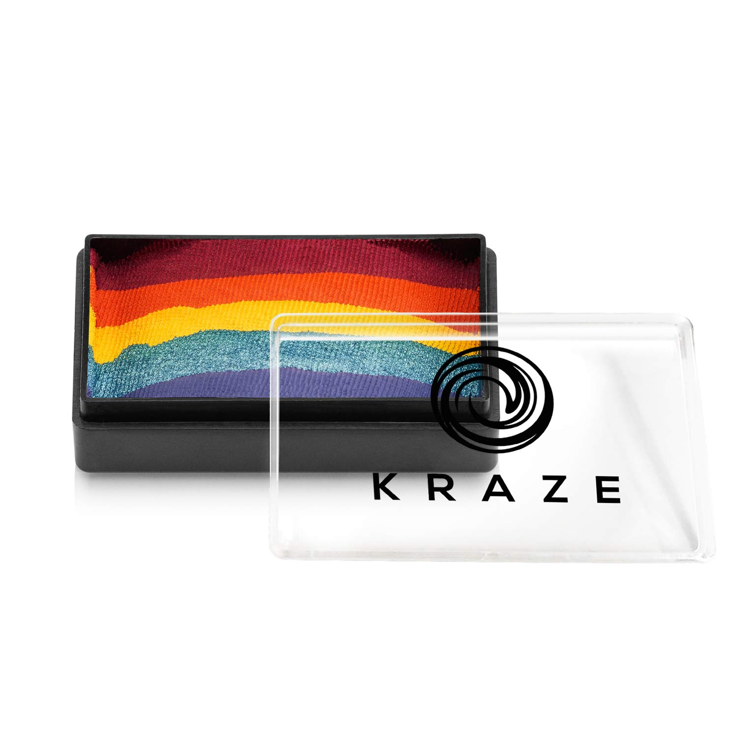 Kraze FX Dome Stroke - Girly Girl Rainbow (25 gm), Professional 1-Stroke Split Cake, Hypoallergenic, Non-Toxic, Water Activated Face & Body Painting Makeup Supplies for Sensitive Skin, Kids, Adults
