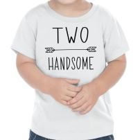 Bump and Beyond Designs Second Birthday Outfit Boy Two Handsome Birthday T-Shirt