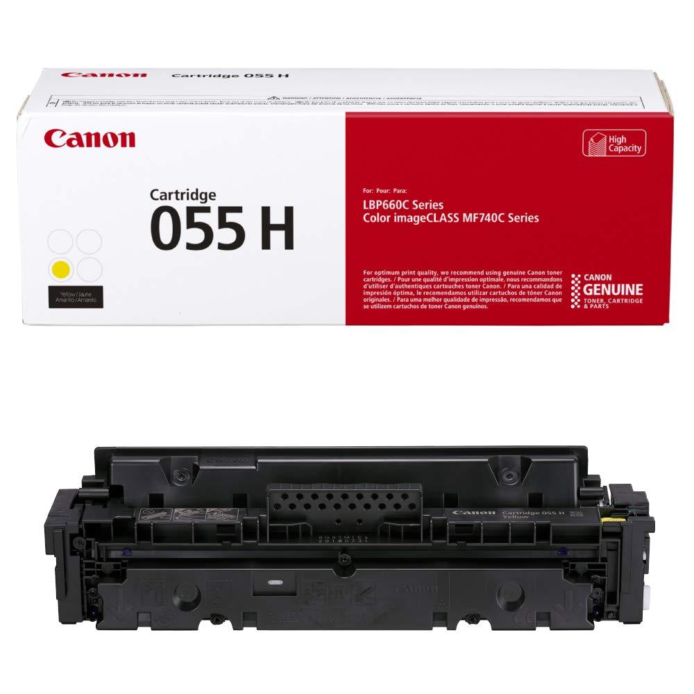 Canon Genuine Toner, Cartridge 055 Yellow, High Capacity (3017C001) 1 Pack, for Canon Color imageCLASS MF741Cdw, MF743Cdw, MF745Cdw, MF746Cdw, LBP664Cdw Laser Printers