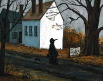 11X14 INCH PRINT OF ORIGINAL PAINTING RYTA HALLOWEEN WITCH BLACK CAT SALEM MA HUNT TRIAL LANDSCAPE SPOOKY SCARY FINE WALL ART