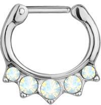 Forbidden Body Jewelry 16g Surgical Steel Synthetic Opal & CZ Crystal Hanger Septum Clicker Hoop