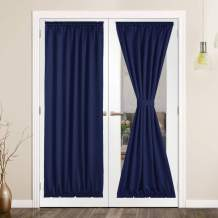 SHEEROOM French Door Curtains, Thermal Insulated Drapes Rod Pocket Blackout Privacy Panel for Living Room Patio Glass Door Window with Tieback Set of 2 Panels, 25 x 72 inch, Navy