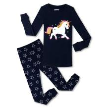 PHOEBE CAT Girls Unicorn Pajamas 100% Cotton Long Sleeve Kids Pjs Toddler Sleepwear Size 2-12 Years