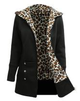 Romacci Women's Zip Up Casual Hoodie Leopard Fleece Lined Sweatshirt Jacket Black