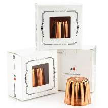 CHEFMADE Copper Canele Mold Set, 2-Inch 4Pcs Non-Stick Cannele Muffin Cup, FDA Approved Tinned Interior Made In Italy
