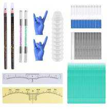 Microblading Pen Kit for Permanent Makeup Supplies, Double Sided Eyebrow Tattoo Pen with Round and Slice Needles & Razors & Eyebrow Pencils & Ink Cups & Ruler Stickers & Cotton Swab & Gloves