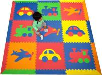 SoftTiles Kids Play Mats- Transportation Theme- Children, Toddler, Baby/Infant Foam Playmats w/Sloped Edges Large 2' Floor Tiles- 6.5 x 6.5 ft.- Blue, Red, Orange, Yellow, Lime SCTRABROYL