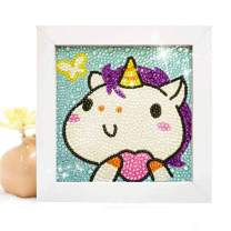 DIY Diamond Painting for Kids Full Drill Painting by Number Kits Arts Crafts Shimmer and Shine Sparkle Mosaics sticker for Home Wall Decor Gifts for Christmas Birthday -Include Wooden Frame(unicorn)