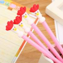 WIN-MARKET Animal Funny Red Chicken Gel Ink Pen Cute Kawaii Black Writing Pens Ballpoint Black Ink Gel Pen Party Gift Gel Ink Pens Funny School Stationery Office Supplies(6PCS)