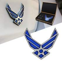 Dsycar 3D Metal Blue Wing US Air Force Premium Car Body Side Rear Trunk Emblem Badge - Gift 4 Free Air Force Logo Tire Valve Stem Caps