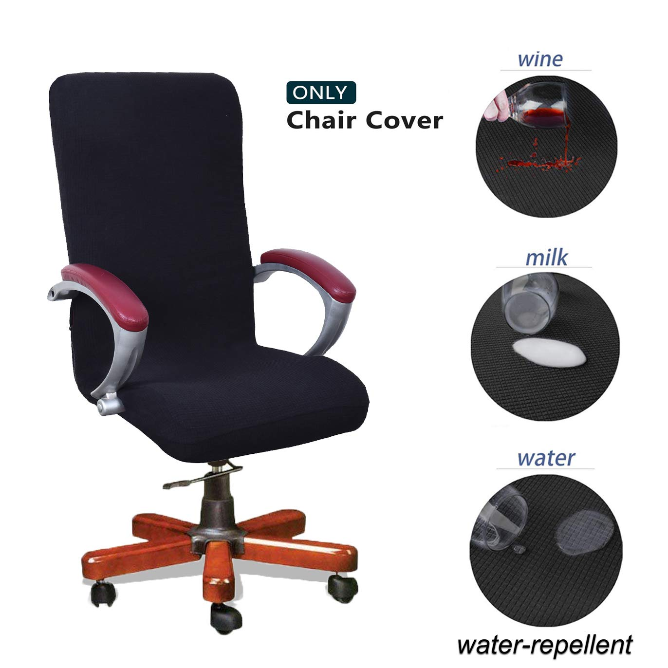 WOMACO Waterproof Office Chair Cover, Jacquard Computer Office Chair Covers Water-Repellent Universal Boss Chair Covers Modern Simplism Style High Back Chair Slipcover (Black, Large)